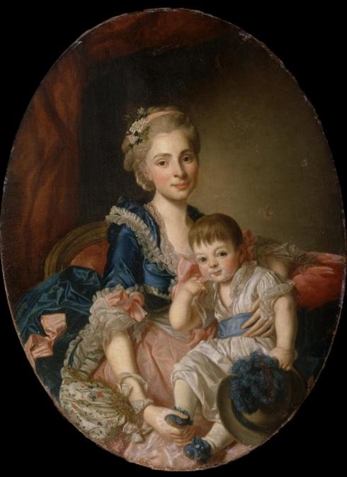 Портрет княгини Н.П. Голицыной с сыном. Конец 1760-х. Неизвестный Художник. II половина XVIII в. (мастерская А. Рослина)