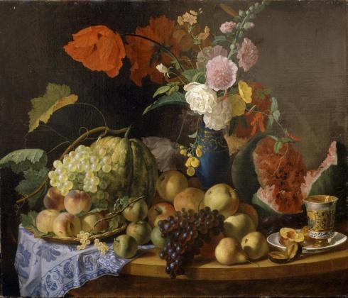 Торопов Ф.Г. (1820\21—1898). Натюрморт с цветами и фруктами. 1846