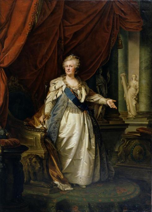 Лампи И.Б. (1751—1830). Портрет императрицы Екатерины II с аллегорическими фигурами  Крепости и Истины. 1790-е