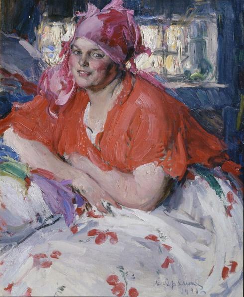 Архипов А.Е. (1862—1930). Молодая крестьянка в красной кофте. 1920