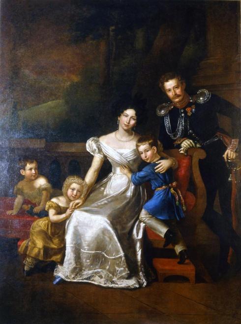 Митуар Б.Ш. (1775—1849). Портрет И.И. Неплюева, адъютанта графа И.И. Дибич-Забайкальского, с женой и тремя детьми. 1830-1831
