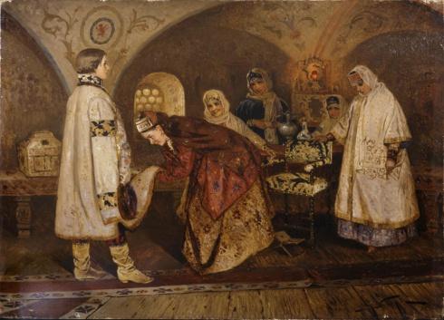 Нестеров М.В. (1862—1942). Первая встреча царя Алексея Михайловича с боярышней М.И. Милославской. 1887