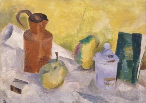 Фальк  Р. Р. (1886 –1958). Натюрморт на желтом фоне. 1917