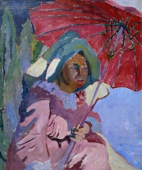 Лентулов А. В. (1882-1943). Женщина под  зонтом. 1910
