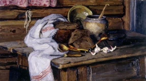 Стожаров В. Ф. (1926-1973). Натюрморт. Хлеб. 1954
