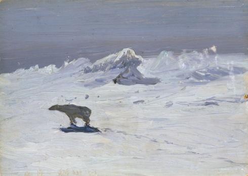 Борисов А.А. (1866–1934). Лунная ночь. Медведь на охоте. 1899