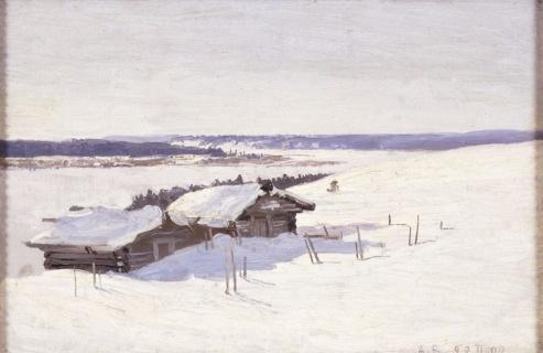 Борисов А.А. (1866–1934). Этюд с избушками. 1898