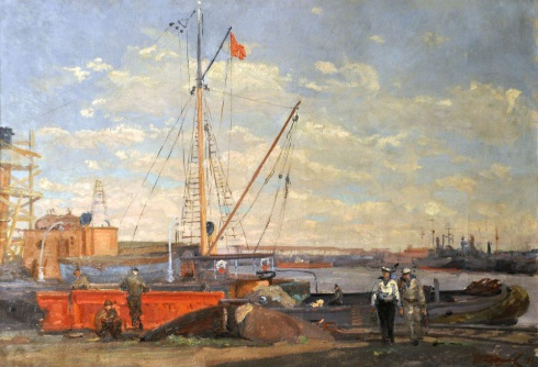На судоремонтном заводе. 1948