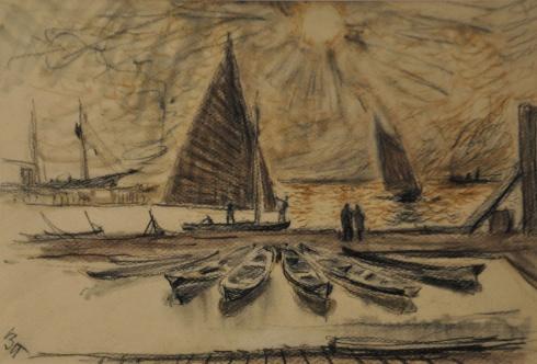 В яхт-клубе. 1930-е