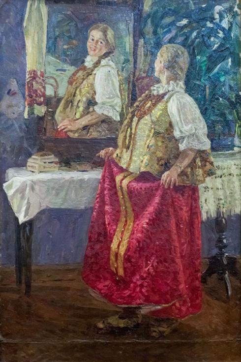 Девушка в русском северном наряде. 1957