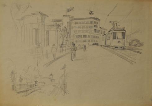 Проспект П. Виноградова около почты. 1930-е
