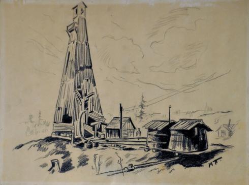 Вышка на первом нефтяном промысле. 1930-е