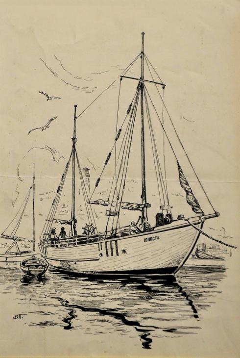 Моторная яхта детской водной станции.1930-е