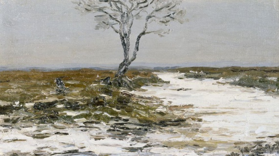Пейзаж с одиноким деревом. Этюд. 1910-е