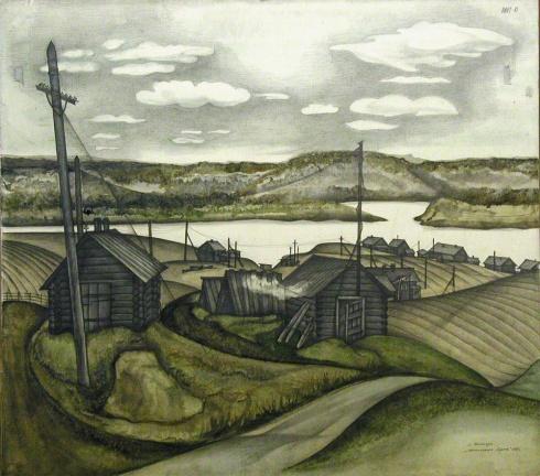 Село Ценогора. Мезенские амбары. 1981