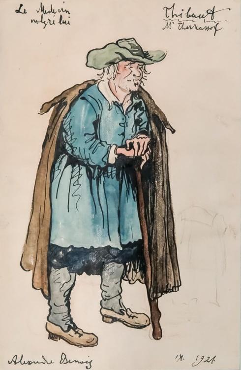 Старик в шляпе (Эскиз костюма Тибо). 1921